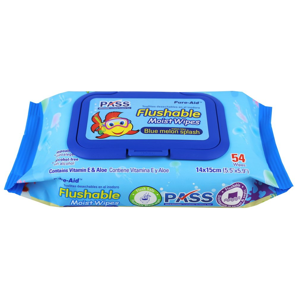 Amazon.com: Pure-Aid Blue Melon Splash Flushable Moist Wipes-54ct (2 Pack): Health & Personal Care