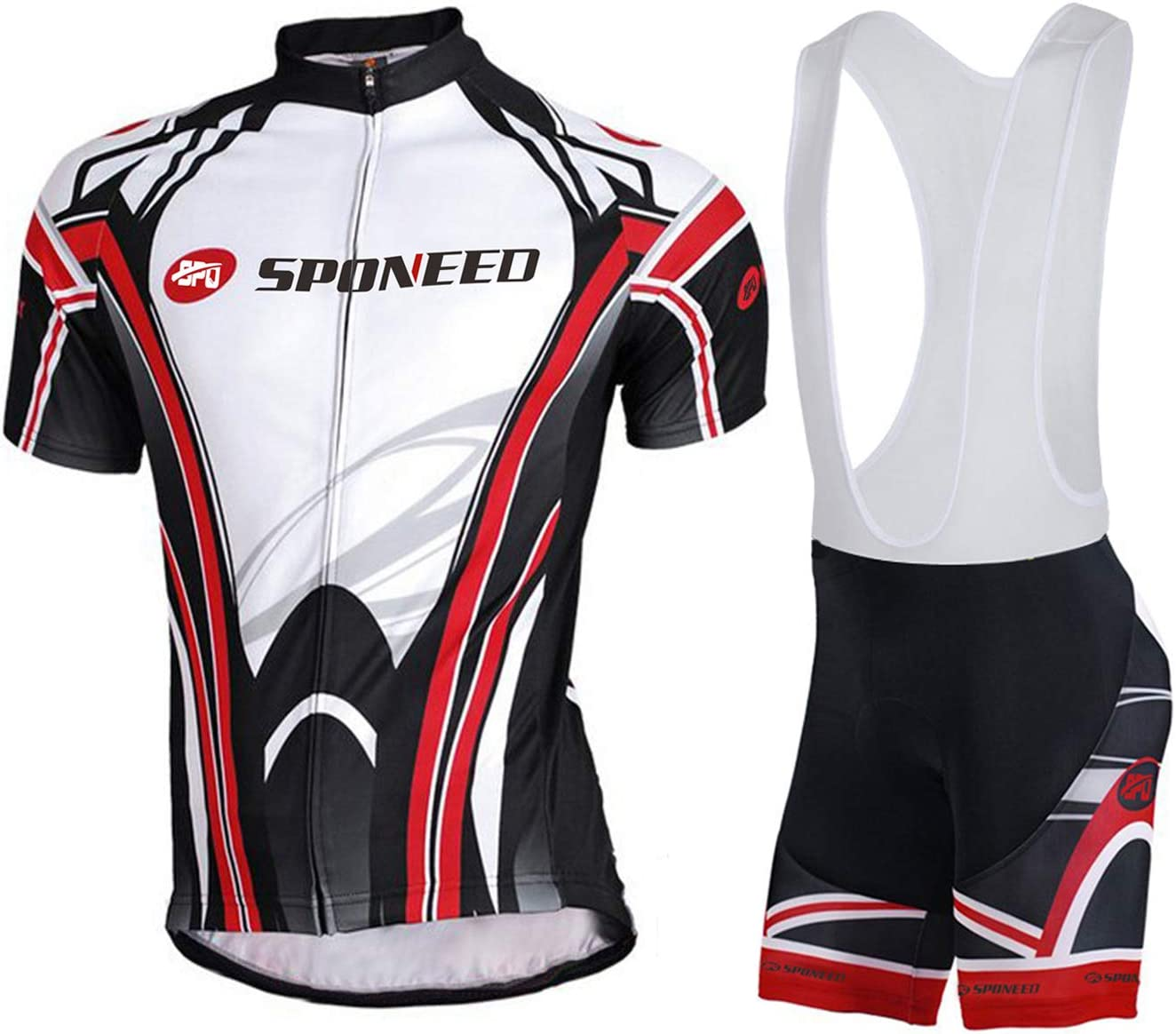 sponeed Men's Shorts Bib and Jersey Cycling Kits Set Road Bike Outdoor Riding Sportswear: Clothing