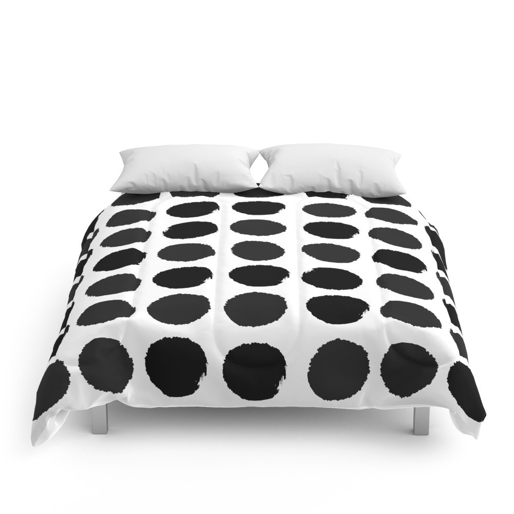 Society6 Black And White Minimal Paint Brush Painterly Dots Polka Dots Minimal Modern Dorm College Painting Comforters King: 104'' x 88''