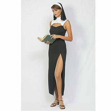 FIORI PAOLO - monja sexy disfraz mujer adulto Womens, Negro ...