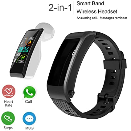 Fitness Tracker with Headphone, 2 in 1 Smart Band + Bluetooth Earbud,Smart Bracelet with Heart Rate Blood Pressure Blood Oxygen Sleep ...