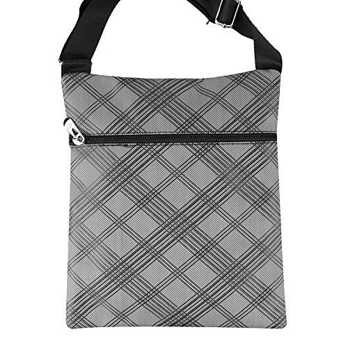 Pattern Mens Stylish Sport Design Zip Strap Metal Pockets Up Check Modern Grey Buckle Bag Shoulder Small Adjustable Organiser 55xw4pZFrq