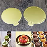8cm/3.15inch Round Mini Disposable Cake Board Cardboard Cake Base Paper Coasters Gold Cake Circles(Gold)