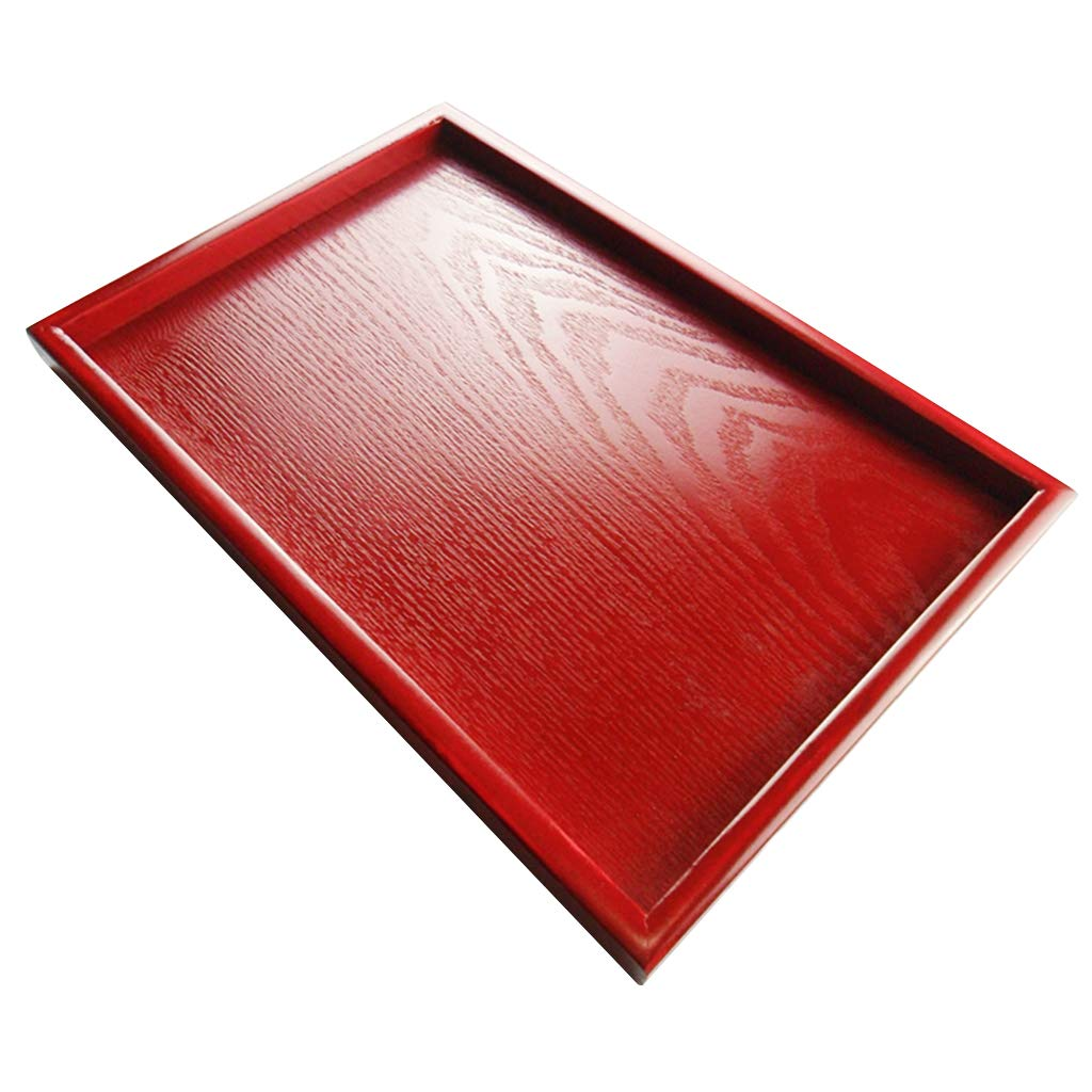 MagiDeal Wedding Supplies Hotel Serving Tray Dishes Cup Cake Holder Red Wooden Plate