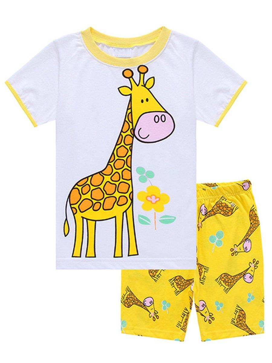 LYXIOF Little Girls Short Pajamas Toddler Cotton Summer Clothes Sleepwears Kids Pjs Sets Yellow 4Y