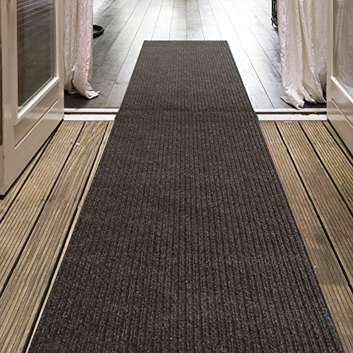 Outdoor Carpet Runner - iCustomRug Indoor/Outdoor Utility Ribbed Carpet Runner and Area Rugs in Brown, Many