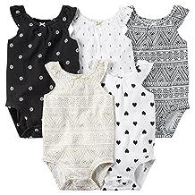 Baby Girls 5-Pack Sleeveless Bodysuits (Multi)