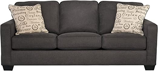 Signature Design By Ashley Alenya Queen Size Sleeper Sofa W 2 Throw Pillows Charcoal