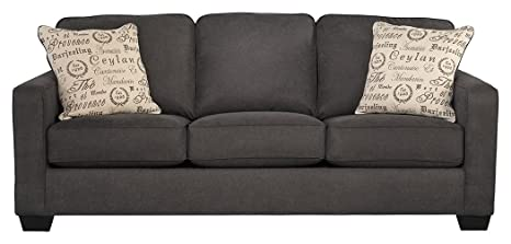 Astonishing Signature Design By Ashley Alenya Queen Size Sleeper Sofa W 2 Throw Pillows Charcoal Caraccident5 Cool Chair Designs And Ideas Caraccident5Info