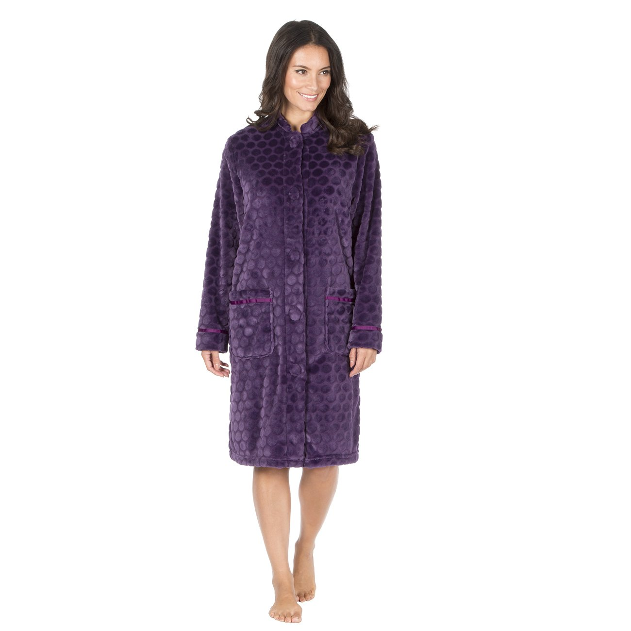 Forever Dreaming Ladies Fleece Housecoat with Buttons | Sizes S-XL | Lightweight Dressing Gown