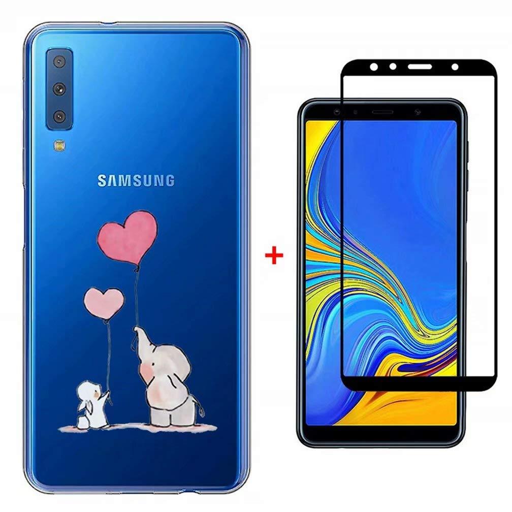Funda Samsung Galaxy J6 2018 Case WYRHS Ultra Suave TPU Silicona Transparente Carcasa 1*Protector de Pantalla de Vidrio Templado Anti-Scratch Protectora Cover-Carta