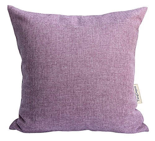 Purple Toss Pillow (TangDepot Heavy Lined Linen Cushion Cover, Throw Pillow Cover, Square Decorative Pillow Covers, Indoor/Outdoor Pillows Shells - (14
