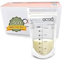 360 CT (6 Pack of 60 Bags) MEGA Value Pack Breastmilk Storage Bags - 7 OZ, Pre-Sterilized, BPA Free, Leak Proof Double…