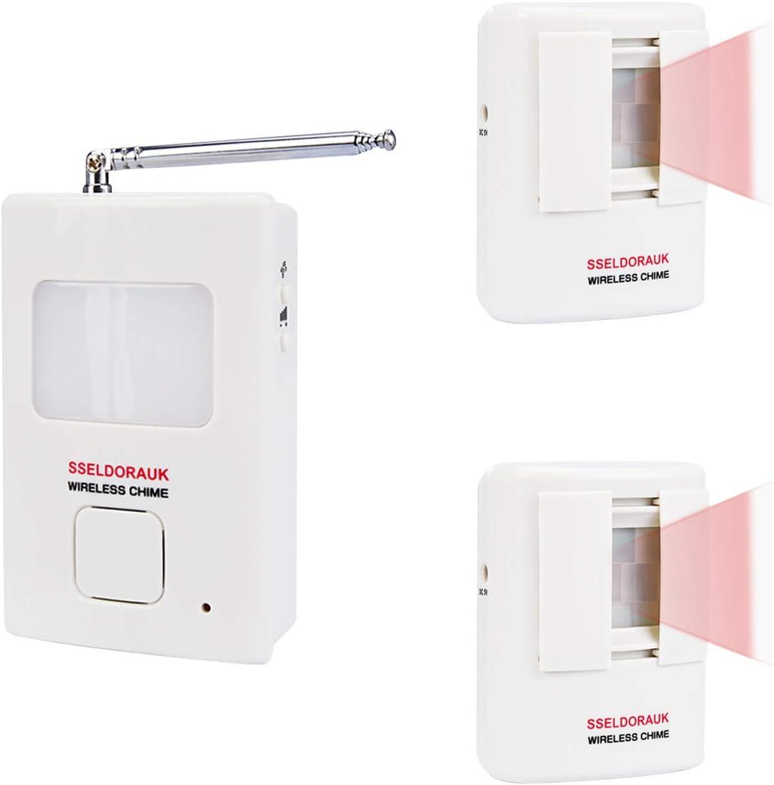 Dog Barking Alarm Motion Detector,Pir Wireless Human Body Walking Sensor Doorbell Door Security Alert System Device for Home or Office Burglar Deterrent (2Sensors + 1Receiver, White)