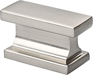 Alzassbg AL6061SN Brushed Satin Nickel, 1.46 Inch(37mm) Cabinet Hardware Rectangle Knobs for Cupboard and Drawer 10 Pack