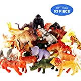 Toymany Realistic Animal Toy Set, 53PCS Mini Plastic Jungle Animal Figures Playset, Amazing Learning Party Gift Favors Toy Set For Kids Children Toddler