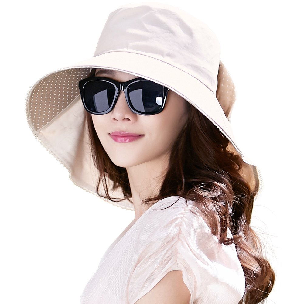 Siggi Womens Wide Brim Summer Sun Flap Bill Cap Cotton Hat Neck Cover UPF 50+ Beige