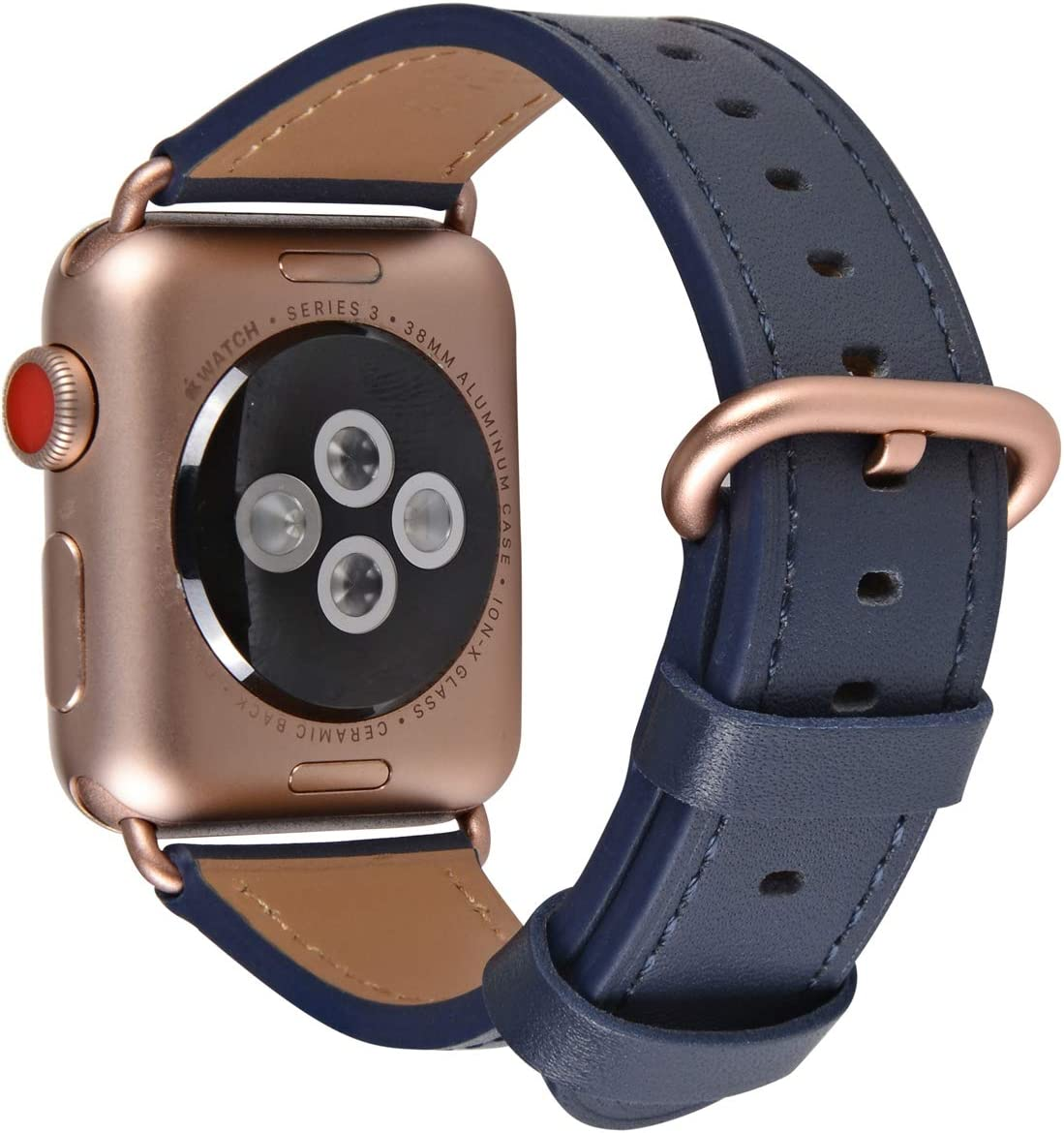 JSGJMY Compatible with Apple Watch Band 38mm 40mm 42mm 44mm Women Men Genuine Leather Replacement Strap for iWatch Series SE 6 5 4 3 2 1 (Navy with Series 5/4/3 Rose Gold Clasp, 38mm/40mm S/M)