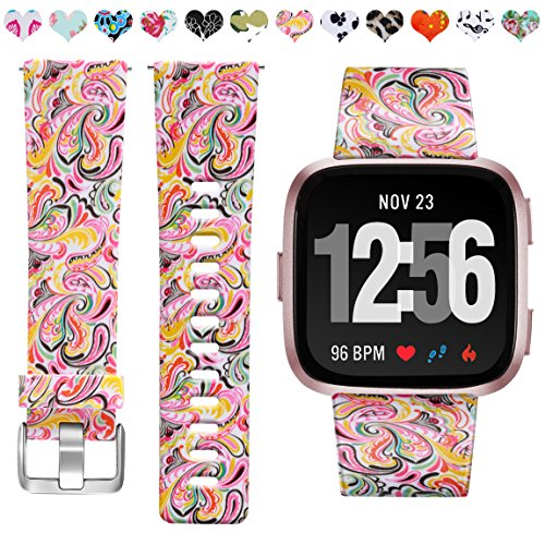Maledan Bands Compatible with Fitbit Versa Women Men Large Small, Breathable Replacement Strap Accessories Wristbands Compatible with Fitbit Versa Smartwatch, Paisley Pattern, Small Size