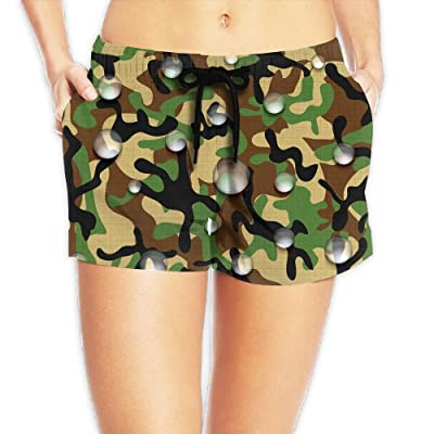 Usieis Icon of Waterproof Camouflage Surfing Pocket Elastic Waist Women's Beach Pants Shorts Beach Shorts Swim Trunks