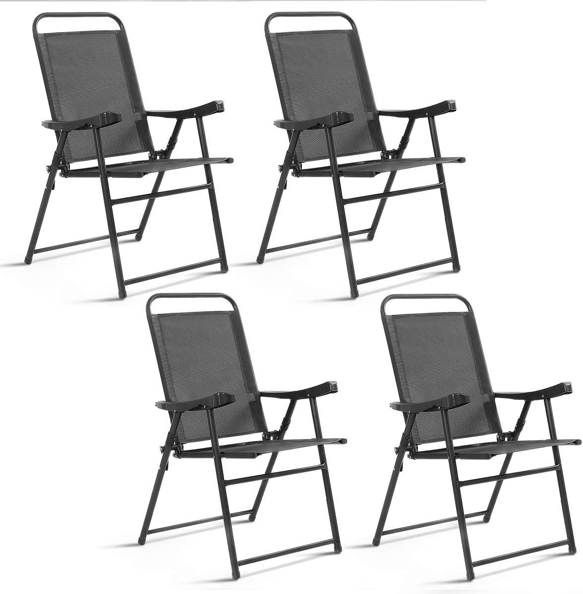 ReunionG 4 PCS Folding Sling Chairs,Outdoor Patio Furniture with Armrest, Camping Lawn Pool Beach Chairs Set, Adjustable Back Chairs, Iron Frame Portable Chairs