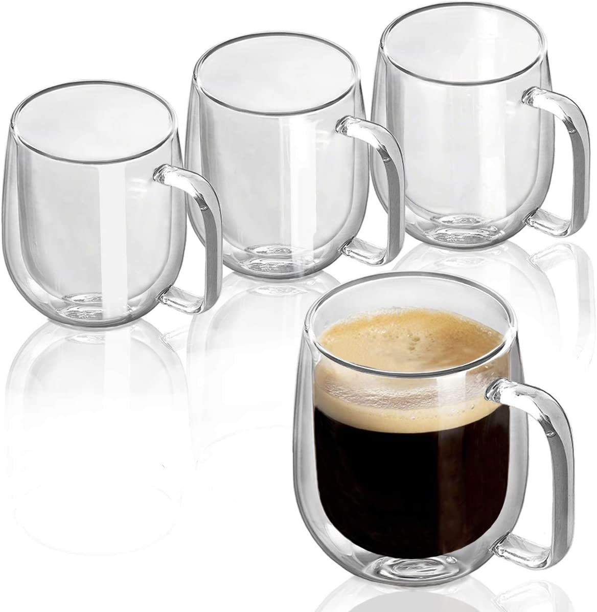 Double Wall Glasses Clear Coffee Mugs Tea Cups Set of 4-8OZ Thermal Insulated and No Condensation with Handle