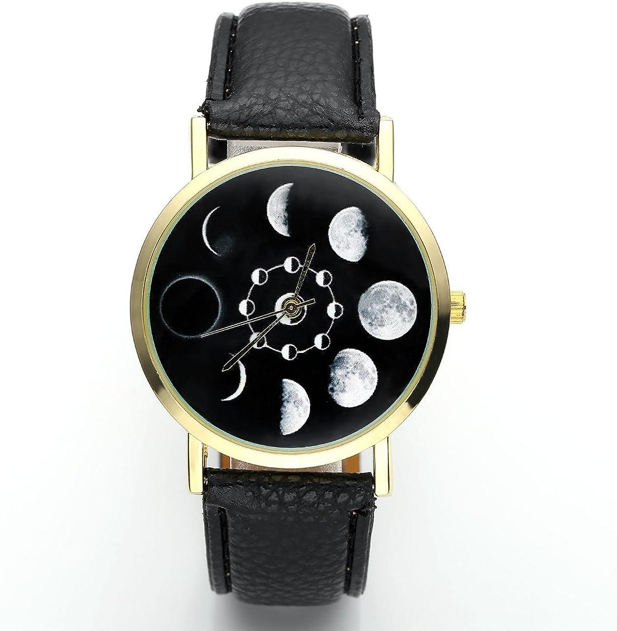 JSDDE Reloj de pulsera para mujer con fases lunares en la esfera, mecanismo analógico de cuarzo, color negro
