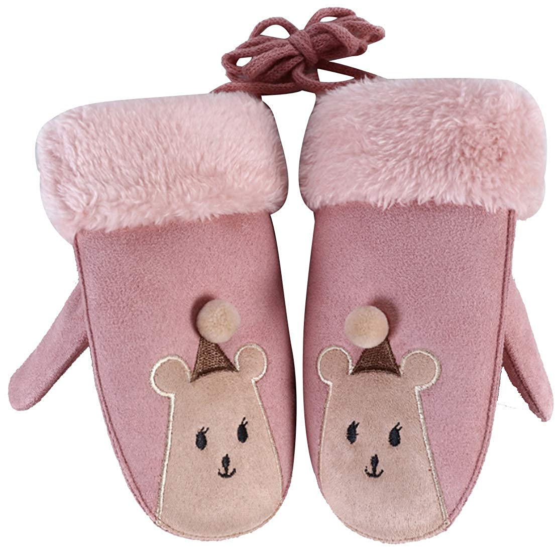 ACVIP Unisex Kids Animal Shaped Warm Lining Artificial Chamois Mittens