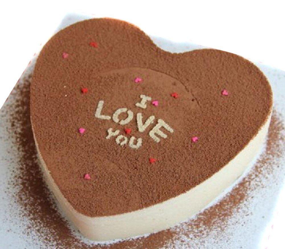 eoocvt 4pcs Aluminium Heart Shaped Cake Pan Set Tin Muffin Chocolate Mold Baking with Removable Bottom - 5'' 6'' 8'' 10'' by eoocvt