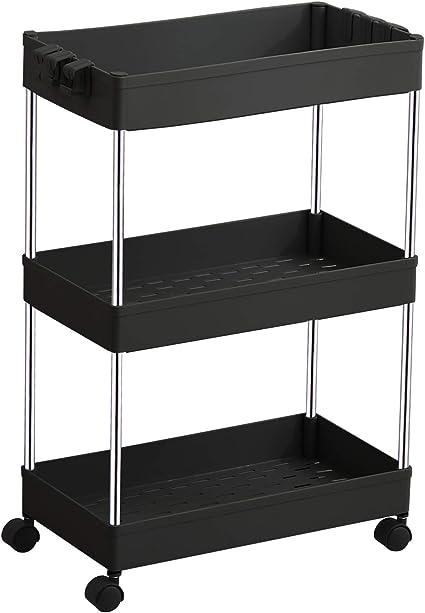 DLO - Organizador de estantería móvil, almacenamiento móvil, estante de almacenamiento de plástico, estante de almacenamiento para oficina, cocina, ...