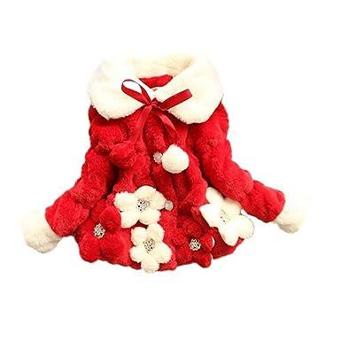 2a776f594 Arrowhunt Baby Girls Faux Fur Fleece Winter Warm Cotton Coat Red ...