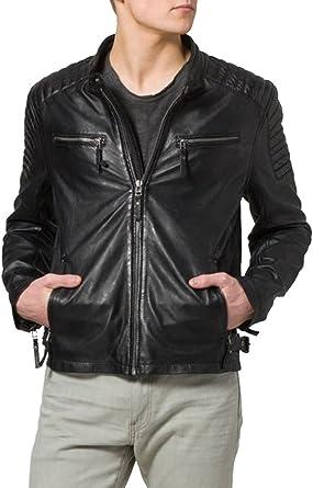 Kingdom Leather Mens Leather Jacket Slim Fit Biker Motorcycle Genuine Lambskin Jacket Coat X1418