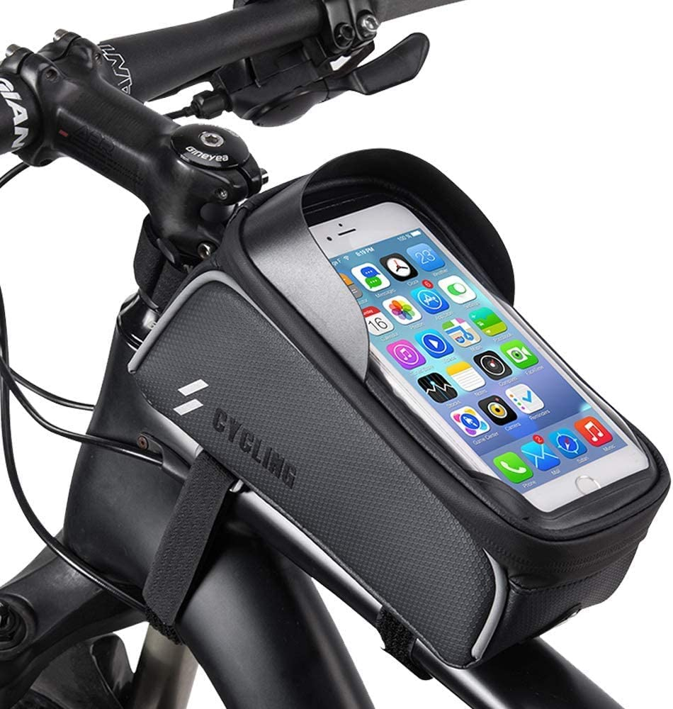 Bicycle Front Frame Bag, Mountain Bike Front Tube Handlebar Bag, with Touch-Screen Mobile Phone Bag, Suitable for Mobile Phones Under 6.5 Inches iPhone 11 8 Plus Xs Max : Sports & Outdoors