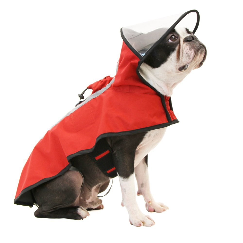 Red Large Red Large Gooby 76000-RED-L Dog Rain Coat with Functional Adjustable Rain Cap, Large, Red