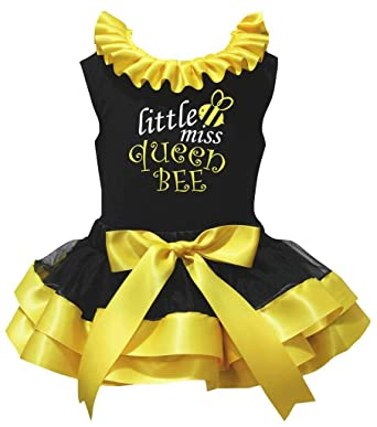 Petitebelle Chicas Camisa Pequeña Miss abeja reina amarillo pétalo ...