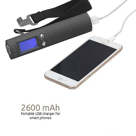 Báscula de equipaje de 50 kg de capacidad de peso con linterna, USB y cualquier