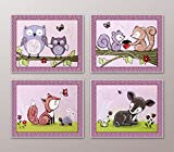 Lavender Forest. Woodland Animals Nursery Art Prints (8''x10'', (4) Set of Four)