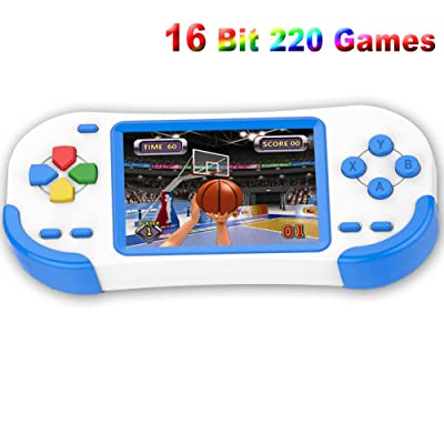 Douddy Handheld Games for Kids with Built in 220 16 Bit Games Player Toy 3.0 Inches Display Rechargeable Birthday Christmas Party Gift (Blue): Toys & Games [5Bkhe0113895]