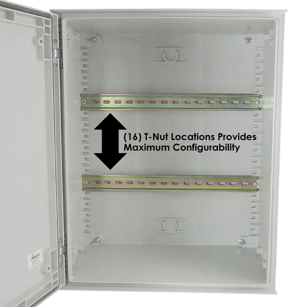 Altelix 20x16x8 Industrial DIN Rail FRP Fiberglass NEMA 3X Box Weatherproof Enclosure with Hinged Lid & Quarter-Turn Latches by Altelix (Image #3)