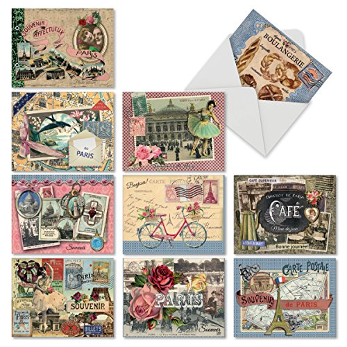 10 Postcard-Style Note Cards with Envelopes 4 x 5.12 inch, Blank 'Papiers De Paris' Greeting Cards, All-Occasion Stationery Set for Weddings, Baby Showers, Thank Yous - NobleWorks M6624OCB -