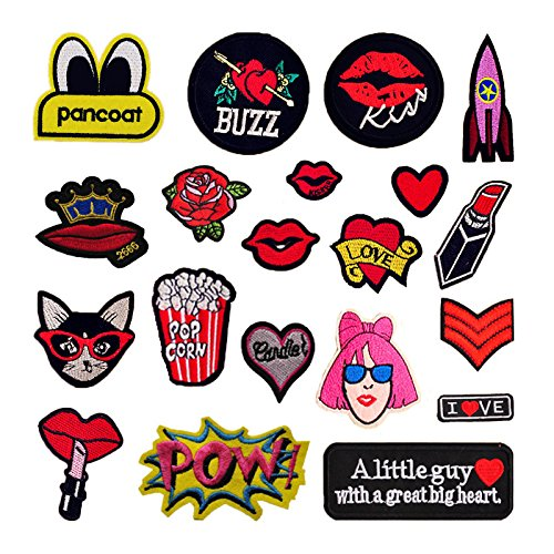 Sticker Iron (20 Pieces DIY Clothes Patches Stickers, Hand Iron On Sewing On Embroidered Patch DIY Apparel Appliques Decal Sticker for Denim Jeans Jacket Handbag Shoe)