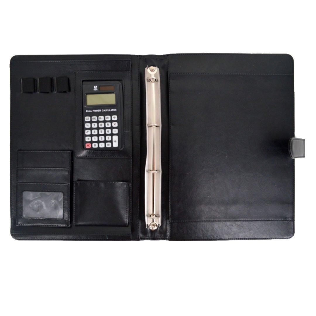 Portablocco, AISI A4in pelle nera portafoglio organiser per documenti con 12-digits Calculator Misura unica Black wjj-01384-01Z