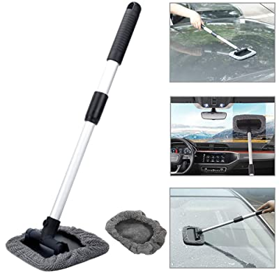 Silence Shopping Pivoting Windshield Cleaning Tool Portable Windshield Wonder Pads Durable 180°Rotating Car Cleaner Brush Extendable Handle Microfiber Covers Grey: Automotive