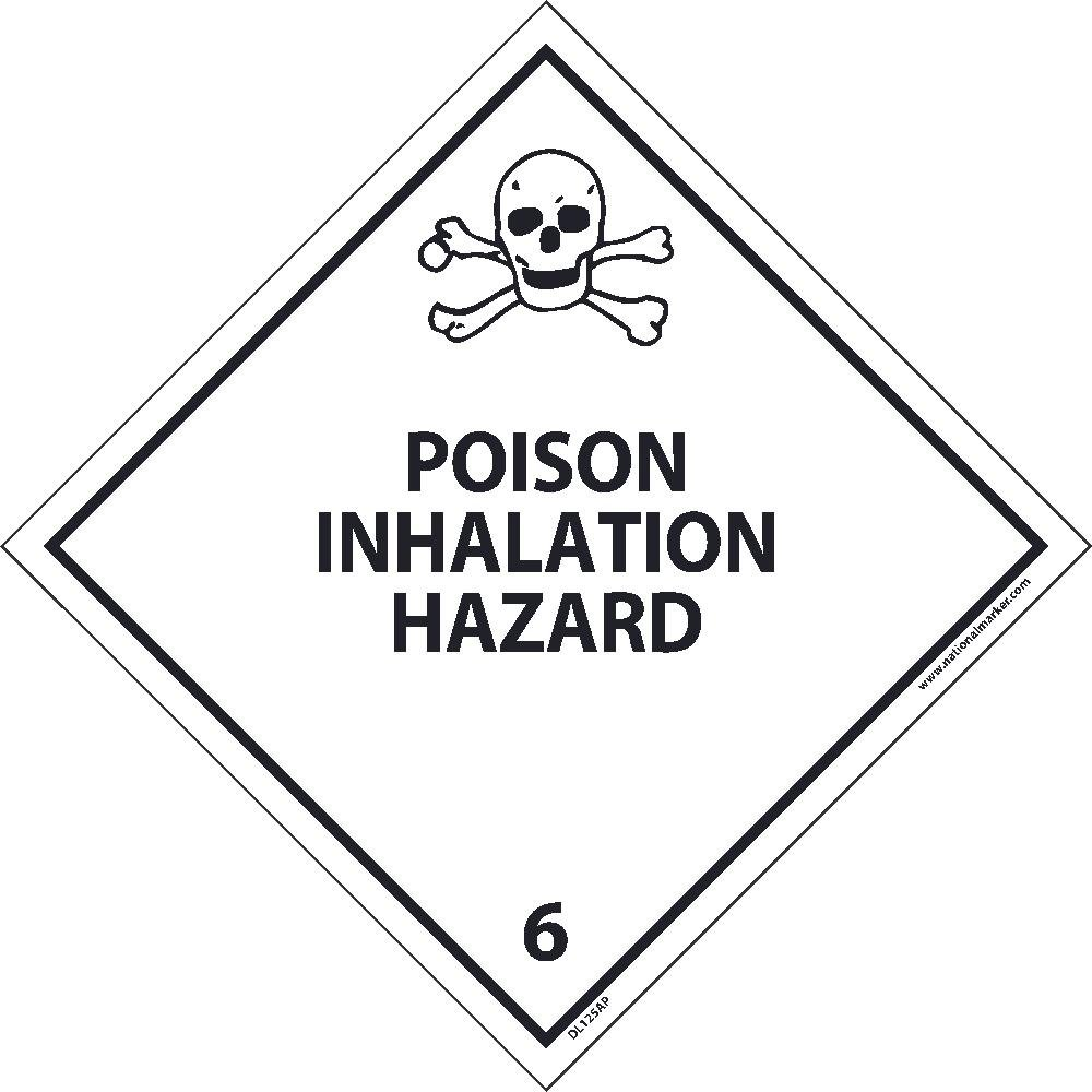 DL125AL National Marker Dot Shipping Labels, Poison Inhalation Hazard 6, 4 Inches x 4 Inches, Ps Paper, 500/Rl