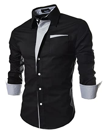 Camisunny Fashion Designer Dress Shirts for Men Long Sleeve Slim ...