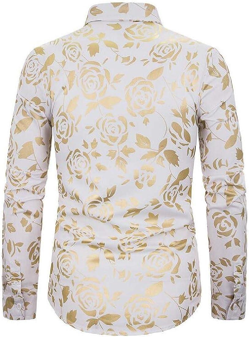 YYG Mens Club Long Sleeve Button Down Floral Print Stylish Dress Shirts