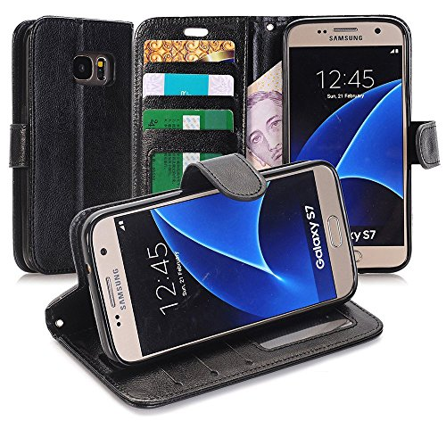 S7 Case, Galaxy S7 Wallet Case, GreenElec Ultra Slim Built-in Card Slots Kickstand Protective, Premium Luxury PU Leather Case for Samsung Galaxy S7- Black
