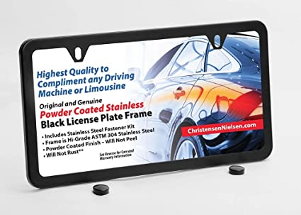 Amazon.com: License Plate Frame Slim Stainless Steel 2 Holes Powder ...