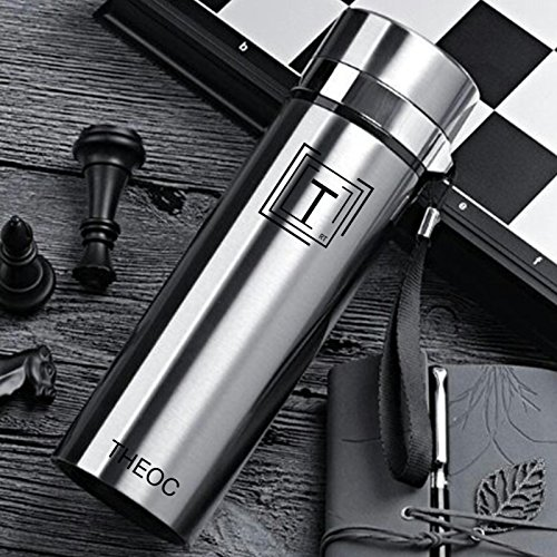 THEOC Fashionable Stainless Steel Water Bottle Insulated Vacuum High Luminance 450ml Water Bottle, Wide Mouth, BPA Free - Stainless - Sunglasses Cold Shoulder