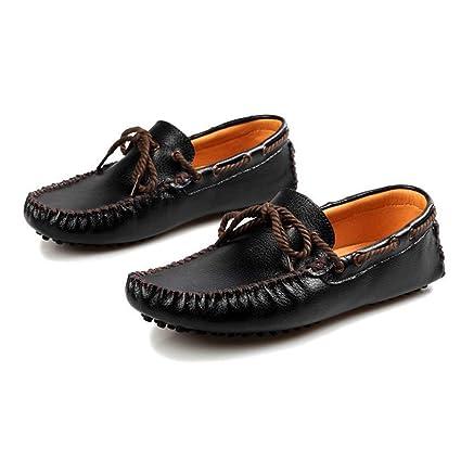 FuweiEncore Mocasines para Hombre Zapatos, Mocasines de conducción para Hombre Color sólido con Cordones Penny